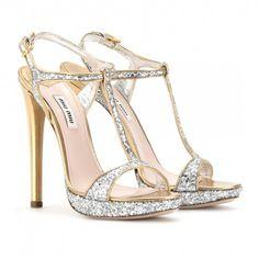 Miu Miu Glitter t-strap platform sandals