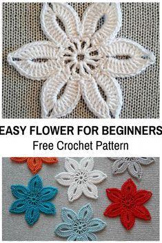 This Easy Crochet Flower For Beginners Is So Cute! [Free Pattern - - This Easy Crochet Flower For Beginners Is So Cute! [Free Pattern This Easy Crochet Flower For Beginners Is So Cute! [Free Pattern] - Knit And Crochet Daily Crochet Puff Flower, Crochet Flower Tutorial, Crochet Flower Patterns, Knitting Patterns, Flower Applique, Pattern Flower, Crochet Ideas, Crochet Mandala, Knitting Ideas