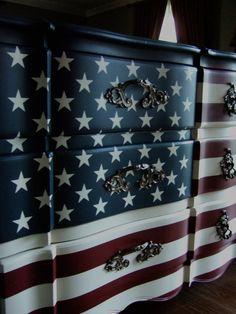 "The ""Waving"" American Flag Dresser by Artisan8 on Etsy https://www.etsy.com/listing/162433768/the-waving-american-flag-dresser"