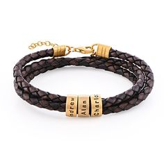 Men Braided Brown Leather Bracelet with Custom Beads in Gold Plating Leather Cord Bracelets, Black Leather Bracelet, Leather Wristbands, Bracelets For Men, Fashion Bracelets, Cordon En Cuir, Mothers Bracelet, Engraved Bracelet, Mens Braids