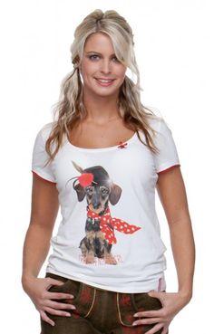 Trachten- T-Shirt - Zamperl - weiß