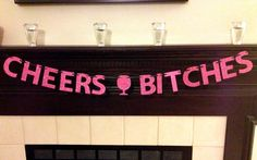 Cheers Bitches Glitter Banner & Cupcake Toppers : Bachelorette Party Bundle