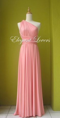 Coral Dress Infinity Dress Wrap Dress Bridesmaid by Elegantlovers, $79.90