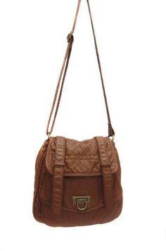 Medium Brown Purse Stonewashed Faux Leather Hobo Handbag Cocktail Bag
