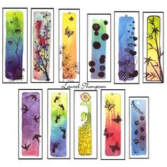 Another set of bookmarks. Watercolor and pen on thick watercolor paper. They're all about 2 by 6 inches big. I will add beads to them like these: