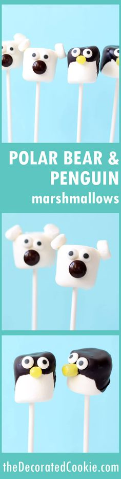polar bear and penguin marshmallow pops   penguin party   polar bear party   winter wonderland party food