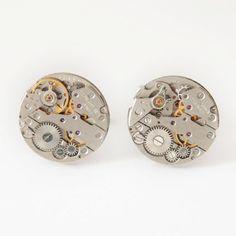 Geek cufflinks, Steampunk cufflinks, Mens jewellery, Clockwork cuff links, watch movement Cufflink, Industrial cufflinks, best man cufflinks