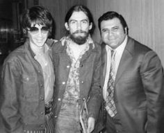 George with producer Phil Spector and promotional manager, Peter Bennett
