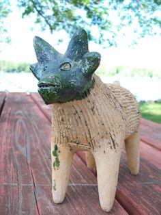 Vintage Chia Pet Seed Planter - Strange Animal Collectible, Mexican Terracotta Seeder Pottery, Folk Art