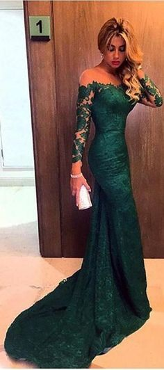 $169-Dark Green Lace Mermaid Prom Dresses Off-the-Shoulder Long Sleeves Elegant Evening Gowns