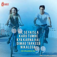 Dil dhadkne do. Hindi Words, Hindi Quotes, Quotations, Famous Dialogues, Movie Dialogues, Bollywood Quotes, Bollywood Songs, Song Lyric Quotes, Movie Quotes