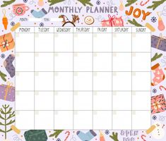 Blank Monthly Planner With Christmas Theme Journal Template, Planner Template, Printable Planner, Planner Stickers, Schedule Templates, Daily Planner Pages, Study Planner, Budget Planner, Monthly Planner