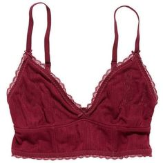 Aerie Soft Longline Bralette (€17) ❤ liked on Polyvore featuring intimates, bras, tops, underwear, lingerie, bordeaux, american eagle outfitters, longline bras, v neck bra and bow bra
