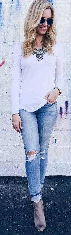 White Top / Ripped Denim / Grey Suede Booties                                                                             Source