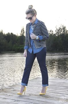Denim Dots from Living in Color Print - Lands' End Striped Jacket, Chambray Shirt, Jeans.