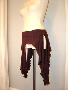 The Joyanna Tribal Belly Dance Skirt, Playa Wear, in Chocolate Brown Stretch Modal with Gold exposed seam detail. $45.00, via Etsy.