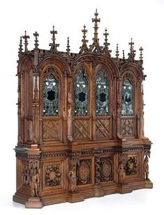 This bedstead, a particularly fine example of American Aesthetic Movement furniture, combines ambitious and extremely successful carving with spirited pain. Furniture Styles, Unique Furniture, Furniture Design, Victorian Furniture, Vintage Furniture, Gothic House, Art Decor, Home Decor, Decoration