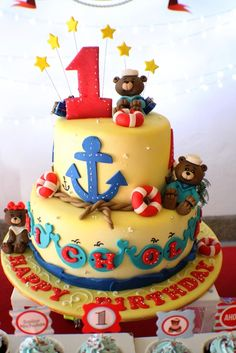 Amazing cake at a Sailor Teddy Bear Party! An adorable first birthday party theme idea! First Birthday Party Themes, 1st Boy Birthday, Boy Birthday Parties, Birthday Cakes, Birthday Ideas, Sailor Cake, Sailor Party, Sailor Theme, Teddy Bear Party