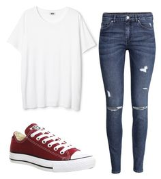 """""""Simple"""" by mini-min on Polyvore featuring mode, H&M et Converse"""