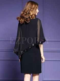 Shop Party Embroidered Sequins O-neck Batwing Sleeve Slim Bodycon Dress at EZPOPSY. All Black Dresses, Black Dress Outfits, Elegant Dresses, Beautiful Dresses, Casual Dresses, Fashion Dresses, Hijab Stile, Classy Work Outfits, Sleeves Designs For Dresses