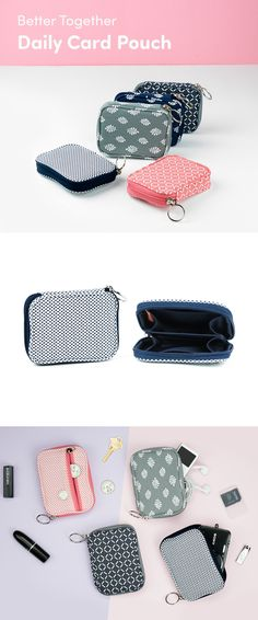 Cute & compact organization comes in the form of the Better Together Daily Card Pouch! This case features 1 main zippered compartment with 2 large compartments and 2 slim pockets inside. A bonus pocket on the outside is perfect for coins. Fit up to 40 cards inside including your ID, bus pass, gift cards, credit cards, and cash, too! Carry all your cards and keep them organized wherever you go. It's versatile and great for daily use or travel, so check it out!
