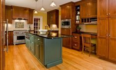 Kitchen Remodel - traditional - kitchen - boston - by Mitchell Construction Group Narrow Kitchen Island, Painted Island, Kitchen Cabinet Colors, Kitchen Cabinet Design, Kitchen Wall Colors, Oak Kitchen Cabinets, Maple Kitchen Cabinets, Kitchen Design, Oak Cabinets