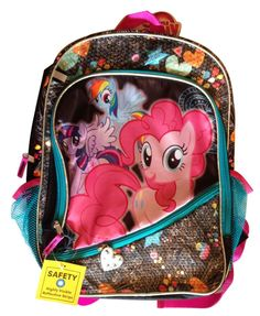 Purchase My Little Pony 16 Inch Sequined Shimmery Backpack from Partytoyz Inc. Backpack Outfit, Black Backpack, Backpacks For Sale, Kids Backpacks, My Little Pony Backpack, Cute School Bags, My Little Pony Dolls, My Little Pony Collection, Back To School Supplies