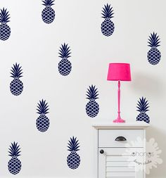 Pineapple Wall Decal / Large 12 Pineapples by OhongsDesignStudio. Comes in gold too! Palm Beach Chic.