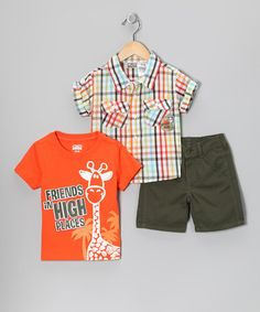 Take a look at this Green & Orange Giraffe 'Friends' Shorts Set - Infant by Little Rebels on #zulily today!