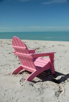 Pink Adirondack chair on the beach Wallpers Pink, Pink Love, Pretty In Pink, Hot Pink, Pink Color, Pink Beach, Pink Summer, Flamingo Beach, Summer Colors