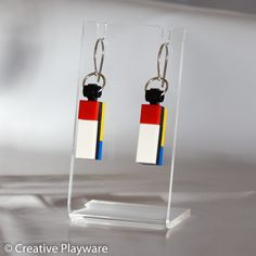 DE STIJL - No. 3 earring - Built by hand using LEGO® elements. Available for purchase at www.creativeplayware.com.