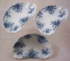 W H Grindley Set of 3 Antique Bone Dishes Made in England Arabic Pattern