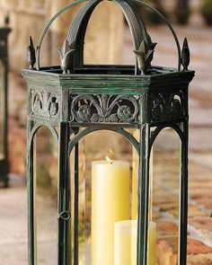 Elegantly shine a soft, romantic light on your outdoor entertaining space with the Renaissance Garden Lantern that boasts intricate brass detailing and beveled glass for added character.