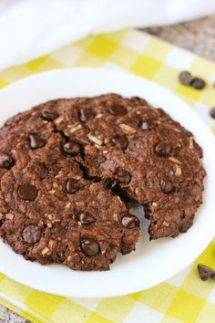 This recipe makes one BIG chocolate coconut cookie. Loaded with coconut flakes and chocolate chips, it's perfect for splitting with someone!