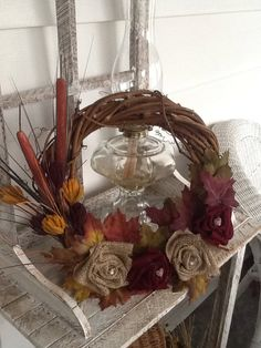 Wreath with fabric flowers for Fall