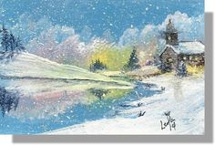 ACEO TW DEC custom Christmas morning winter snow church  art original acrylic #Miniature by Leola Walker