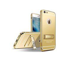 "awesome iPhone 6/6S Funda con Soporte,Grandcaser Lujo Ultrafino Metal Marco de Aluminio Espejo PC de Nuevo Caso Funda Carcasa para Apple iPhone 6/6S 4.7"""