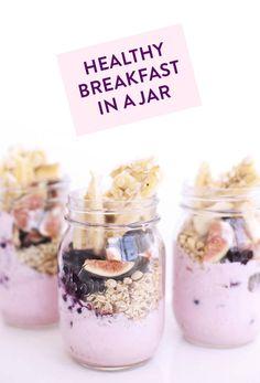 Breakfast in a jar! Yogurt, fruit, raisins, grapes, figs, granola... Already to go the night before!