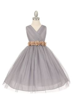 e7cf6c093729d Silver/Champagne Tulle V-Neck with Removable Floral Sash Flower Girl Dress. Purple  Flower GirlsSilver ...