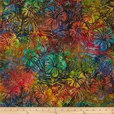 Designed by Lunn Studios for Kaufman Fabrics, this Indonesian batik is perfect for quilting and craft projects as well as apparel and home décor accents. Colors include shades of blue, green, red, yellow, orange, brown, pink and purple.