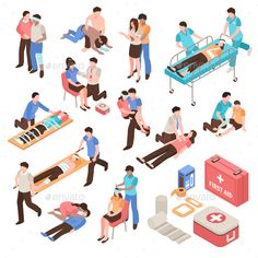 Buy First Aid Isometric Set by macrovector on GraphicRiver. First aid isometric set with people during help victim persons, emergency care kit isolated vector illustration