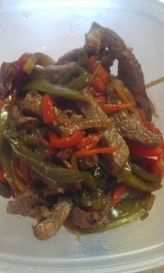 fajitas- Chuck tender steak strips usual package is about 1 1/2 pounds  2 red and 2 green bell peppers sliced thin, 1/2 onion sliced thin. add 1 cup soy sauce, one 6oz can pinapple juice let marinade over night, drain rest of juice, place in skillet with one tsp olive oil cook until meat is done and veges tender! Chuck Steak Recipes, Beef Recipes, Cooking Recipes, Healthy Recipes, Cooking Beef, Juice Recipes, Drink Recipes, Tender Steak, How To Cook Beef
