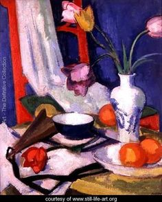 Still life with tulips, 1925 - Samuel John Peploe The subject matter is a bowl of fruit and base of flowers, the bowl is in front of the vase with the flowers spilling out Peploe has used ain't and paint brush to create a jolly mood with all the colours