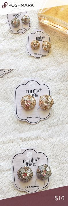 """crystal lattice stud earrings * delicate crystal detail set in lattice frame * light & yet very shiny! ✨ * mixed metals material  * .75"""" in length   choose: ROSE GOLD (2nd pic) WHITE GOLD (3rd pic)  ❌ no trades ⭕️ offers welcome! ❣️add to bundle & i'll send a private offer! Jewelry Earrings"""