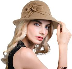 Bellady Women Solid Color Winter Hat 100 percent Wool Cloche Bucket with  Bow Accent 4e47288ebe5