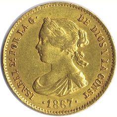 Moneda de oro 4 Escudos Isabel II 1867 Madrid.
