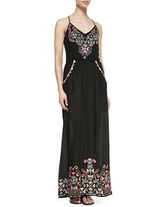 Embroidered Racerback Maxi Dress by Yoana Baraschi at Neiman Marcus.