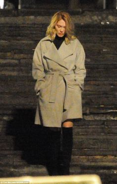 Leading lady: French star Lea Seydoux, who plays Madeleine Swann, was also spotted on set ...