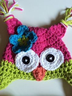 Pink owl hat and diaper cover newborn photography prop baby photo prop bright owl hat and diaper cover owl hats for baby infant owl hat Size: Newborn (0-3 mos or 13 head circumference) Colors: Bright pink, bright green and bright blue Eyes have black buttons for pupils and