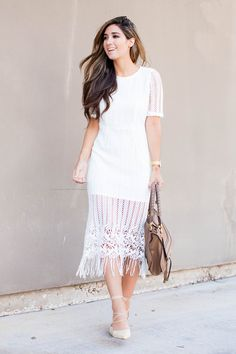 The Darling Detail wears white party dress from Nordstrom